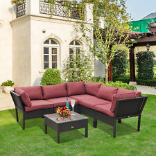 Outsunny 6pcs Patio Sectional Furniture Stackable Outdoor Rattan Sofa Set All