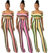 Womens Clubwear Crop Tops Suspenders Pants 2PCS Set Bodycon Dress Stripe Bodycon