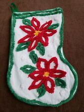 """Vtg Chenille Christmas Stocking White Green Red Poinsettia Flower 19.5"""""""