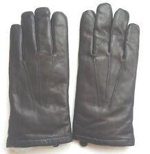 Men's Grandoe White Rabbit Fur Lined Genuine Leather Gloves, Black,M