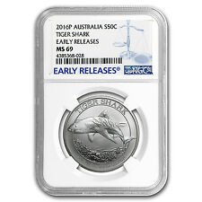 2016 Australia 1/2 oz Silver Tiger Shark MS-69 NGC (ER) - SKU #97251