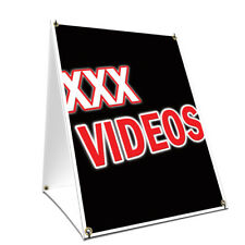 A-frame Sidewalk Sign Xxx Videos With Graphics On Each Side