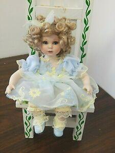 "M'LISSA VIRGINIA Marie Osmond/Lisa Hatch 5"" Seated Porcelain Doll in Blue Dress"