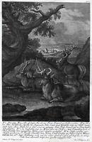 Antique Print-HUNT-DEER-ROMROD FOREST-ANTLER-M.E. Ridinger-J.E. Ridinger-1768