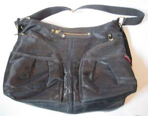Skip Hop Diaper Bag - Black w/ Aqua Lining, Pockets, Changing Pad, Sections