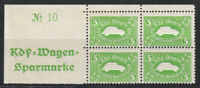 Stamp Germany Revenue Block WWII 3 Reich VW KDF Volkswagen Plate MNH