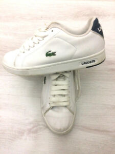 Boys Lacoste Grey Leather trainer size 2 Used 4 times GOOD CONDITION