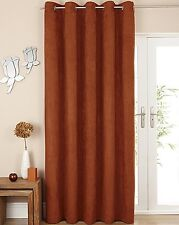 """Suzy Luxury Faux Suede Ring Top Lined Curtains or Accessories - 8 Colours Burnt Orange 66x90"""" (168x229cm)"""