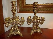 Antique Candelabra- Tall Mantle French 5 Arms Pair 2 Pc Set Art Nouveau Candles