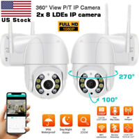 US 1080P Wireless Outdoor Wifi IP Camera PTZ Home Security IR Cam Two-way Audio