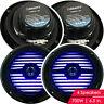 "4x Gravity 700  Watts 6-1/2"" 2-Way Marine Boat Audio Speakers 6.5"" BLACK LED"