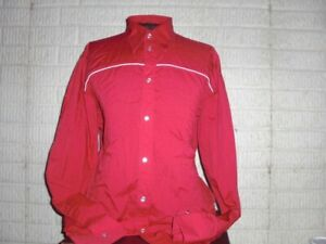 Vintage 1980's SCANDINAVIA red Pearl Snap button Western style shirt XL