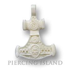 Mjölnir Amulett Anhänger inkl. Band Bone Knochen Wotan Thor Thors Hammer PB201