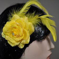 flores amarillo rosa Enganche pelo pinza para el cabello brillo Plumas Adorno