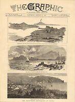 1883 Stampa ~ Terremoto Presso Ischia Italia ~ Casamicciola Procida Vista Di Bay