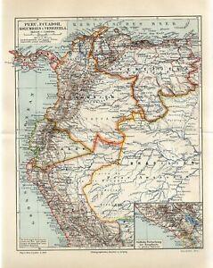 1895 PERU ECUADOR COLOMBIA VENEZUELA Antique Map