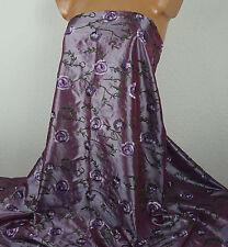 1 m Kleidertaft rose violett, 11,99 €/m, mit Stickerei Rosen, Taftstoff