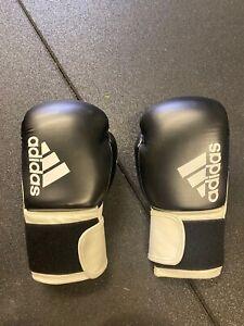 adidas Hybrid 100 Boxing Gloves Black White Sparring 12oz Training