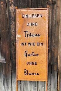Edelrost Spruchtafel Ein Leben ohne Träume 115 cm Sichtschutz Garten Dekoration