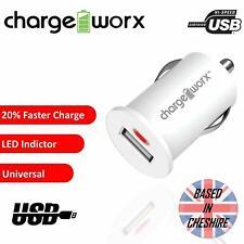 USB Car Charger Cigarette Lighter Socket Chargeworx Mobile Fast Charge LED White