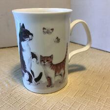 """Cat Lovers Bone China Mug 1989 Roy Kirkham Butterflies 4""""t, 3""""d"""
