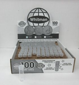 Box of 100 Whitman HE Harris Round Screw Top Coin Tubes Holder Penny 1 Cent 19mm