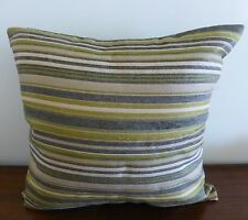 Linen look green stripes cushion cover 45x45