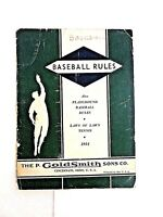 OFFICIAL BASE BALL RULES BOOKLET 1934 GOLDSMITH Plus Laws of Lawn Tennis