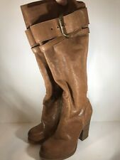 Nine West Tall Leather Boots Brown Buckles High Heels 6-1/2M