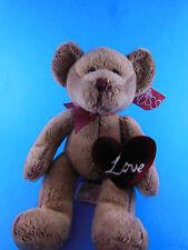 "Russ Plush 9"" Brown Bear Chantelle W Velvet Love Heart & tag"
