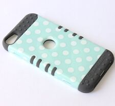 iPod Touch 5th & 6th Gen - HARD&SOFT RUBBER ARMOR CASE GREY MINT BLUE POLKA DOTS