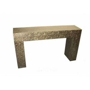 """58"""" W Leah Console Table Embossed Metal Botcanical Pattern Gold Metal Foil"""