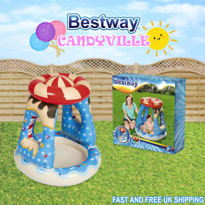 NEW Bestway Candyville Inflatable Shaded Paddling Play Pool Baby & Toddler Fun