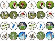 24 cricket bowling batsman bun fairy cupcake topper birthdays party edible paper