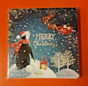 PEACE HOSPICE CARE CHRISTMAS CARDS 2021 ~ PENGUIN UNDER A STARRY NIGHT ~ 10 PACK