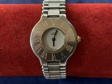 Authentic CARTIER Must 21 Gold Plated Accents over Stainless Steel Unisex Watch.