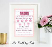 Personalised New Baby Birth Gift Boy Girl Keepsake Word Art Print Poster