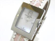 Auth ChristianDior Malice Square D108-109 PearlWhite Pink White Silver EU8082