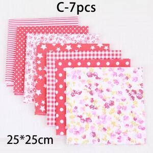 7 Pcs Floral Cotton Fabric Assorted Pre-Cut Fat Quarters Bundle DIY 25x25cm