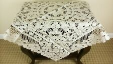"""Grant Linen Fabric Polyester Embroidery Cutwork Tablecloth 36x36"""" Square beige"""