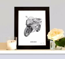 SUZUKI GSX-R  Art Print Drawing Picture MOUNTED Present Gift For Gixxer Owner