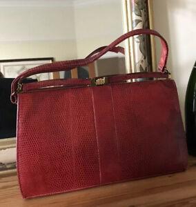 Mappin & Webb Mod Red Handbag Vintage 50s Snake/Lizard Skin