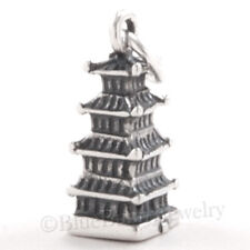 Pagoda Charm Pendant  925 Sterling Silver Asia Asian Travel .925 3D