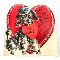Vtg 1940s 1950s Poodle Dog Valentines Day Card Ephemera Paper Holiday Heart 50s