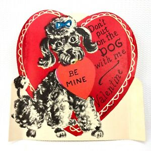 Vtg 1940s 1950s Poodle Dog Valentines Day Card Ephemera Paper Holiday Heart 50s