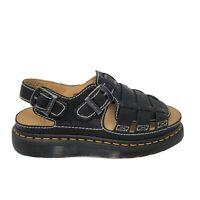 Dr. Doc Martens Leather Fisherman Arc Sandals Black Buckle Cushion Size 10