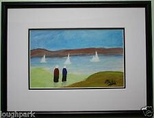 Irish Art Original Gouache Oil Painting BOAT RACE by Irish Artist SEAN DYLAN