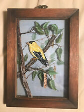 Vintage Edna Boyd 3D Bird On Branch Artwork - Signed And Framed