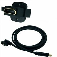 HDMI Male To Female 90 Degree Left Angled Panel Mount Extension Cable Connector