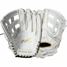 "New RHT 13"" 13.5"" 14"" Miken White Gold Pro Series Slowpitch Softball Glove"